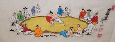 CHINESE WRESTLING MATCH ORIGINAL WATERCOLOR ON RICE PAPER PAINTING SIGNED