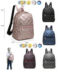 SOFT LEATHER METALLIC BACKPACK QUILTED STITCH DESIGN TRAVEL SCHOOL BAG RUCKSACK
