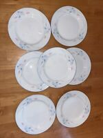 "IRIS BY EXCEL PINK & BLUE PURPLE FLORAL BREAD DESSERT PLATE 7"" SPRING Set Of 7"