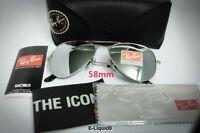 Ray Ban Aviator Sunglasses RB3025-3N Silver Frame-58mm Silver Lens Black Case