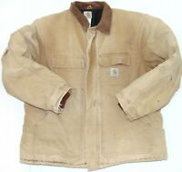 Carhartt Men's Vintage Brown Canvas Quilt Lined Work Jacket Made in USA Size 2XL