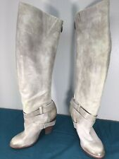 Used Fergie Varsity Gray Leather Over the Knee Womens Zip Up Boots sz 7 M Wedge