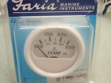 WATER TEMP GAUGE 100-250F FARIA DRESS WHITE 678 13110 INBOARD I/O BOAT UNIVERSAL
