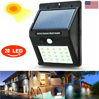 Solar Lamp Waterproof PIR Motion Sensitive Wall Light Outdoor Yard Garden 20 LED