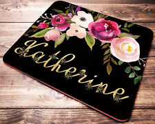 Personalized Roses with Gold Floral Letters Mouse Pad Computer Desk Accessories