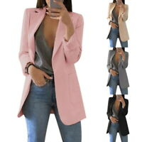 US Fashion Women Suit Coat Business Blazer Long Sleeve Outwear Ladies Jacket PD