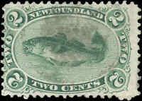 Used Canada 1870 Newfoundland 2c F Scott #24 Codfish Stamp