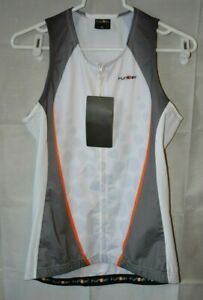New Funkier Sleeveless Triathlon Top Women's XL White & Grey For USA Charity!!!