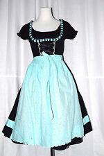 neuwertig MARJO Dirndl Trachtenkleid Damen modern schwarz-hellblau GR 34 XS