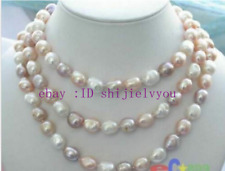 "Long 45"" 7-8mm Baroque Multicolor Freshwater Pearl Necklace AAA"