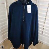 Tommy Bahama Ben and Terry Coast Core 1/4 Zip Blue Pullover Jacket - Men's 4XB