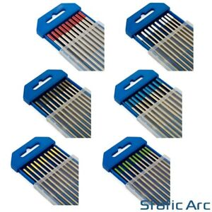 10x TIG WELDING TUNGSTEN ELECTRODES BLUE/GOLD/GREEN/GREY/RED/WHITE 1.6mm/2.4mm