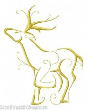 Outline Christmas Reindeers 10 Machine Embroidery Designs on Cd in 5 sizes