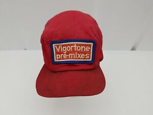 Vigortone Pre-mixes Baseball Cap Trucker Hat Neck Flap Red Vintage Farming