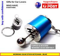 Metal Gear Shifter Keychain Men's 6-Speed Gear Stick Car Part Keyring Gift BLU