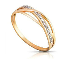 14CT GOLD WEDDING Band Anello con Diamanti