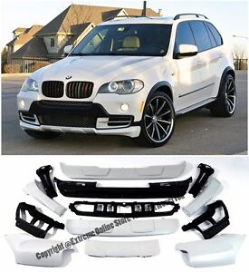 For 07-10 BMW E70 X5 Air Aerodynamic Front Rear Bumper Cover Full Body Kit