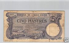Bank- des'Indochina Saigon 5 Piaster 11 November 1916 N.169 Nr. 205 Pick 37b