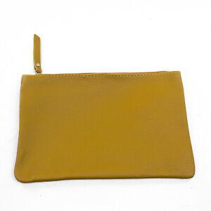 Echt Leder Damen Kosmetik Tasche Pochette Farbe senfgelb
