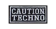 Caution Techno Biker Heavy Rocker Patch Aufnäher Bügelbild Kutte Badge Stick