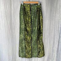*VINTAGE* Green Multi Swirl Print SIZE 6 UK Hairy Feel Midi Straight Skirt V2