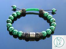 Scorpio Malachite/Lava Birthstone Bracelet 7-8'' Macrame Healing Stone Chakra