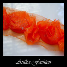 Orange Rose CHIFFON Frayed Floral Mesh LACE TRIM with Shimmering Silver Ends 1y