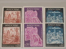 FRENCH ANDORRA 1967 204-06 + U 178-80 IMPERF Fresken Frescoes Religion MNH