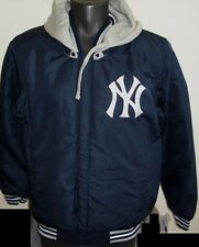 MLB New York YANKEES Reversible Poly/Fleece Hooded Jacket BLUE & GRAY XL