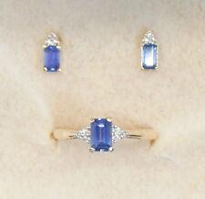 10K Yellow Gold .75 Ct Tanzanite & Diamond Ring & Earring Set Size 7