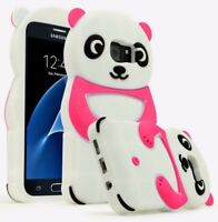 For Samsung Galaxy S7,Pink and White Silicone Panda Character Case Cover