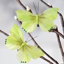 28888 2er-Set Mariposa Falter De Plástico Verde con Clip De Metal 11cm