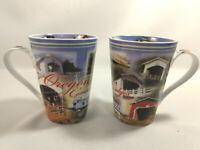 Souvenir of Oregon 2 Mugs Coffee Tea Covered Bridges Ceramic Porcelain