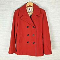 Gap Women's Medium Coat Red Wool Blend Lined Double Breasted Front Pockets