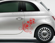Fiat 500 Custom Vinyl Side Graphic Decals, 2 x Flower Car Sticker