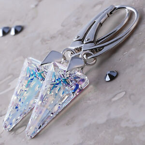 925 Sterling Silver Dangle Earrings Crystal AB Genuine Crystals from Swarovski®