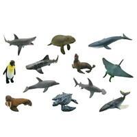 12pcs/Box 3D Sea Life Sharks Dolphin Simulation Animal Model Toys Kids Gift L&6