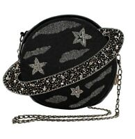 Mary Frances Orbit Embellished Leather Planet Black Crossbody Handbag Bag New