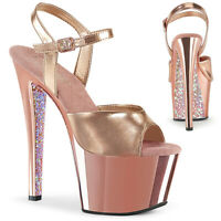 Pleaser SKY-309TTG Womens Rose Gold Metallic Pu Chrome Glitter Heel Strap Sandal