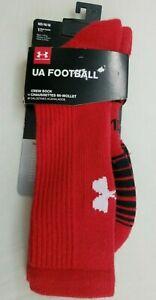 Under Armour Mens Crew Socks Medium 4-8.5 Red UA Football Cushioned Heatgear New