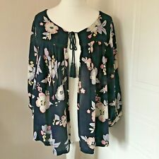 Evans Navy Blue Pink Grey Floral Print Open Front Blouse Cover Up Size 16 NWT