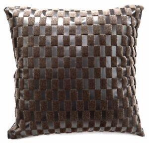 Sb216a Brown Faux Leather Light Brown Faux Fur Cushion Cover/Pillow Case Custom