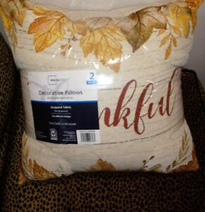 Decorative Fall Throw Pillows, 2 Pack Beige Thankful New
