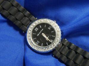 Montres Carlo 33581 silver tone black silicone estate WATCH fresh batt 10/20 A15