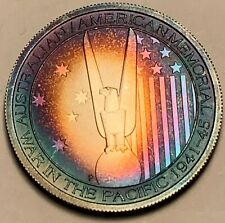 2013 AUSTRALIA AMERICAN WWII 50 CENTS .999 SILVER RAINBOW TONED COLOR UNC (DR)