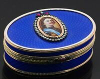 Faberge heavy 14K gold 4.0CTW VS1/F diamond/ruby cameo Blue enamel jewelry box