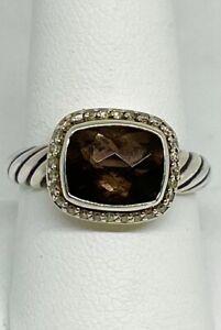 David Yurman Nobelesse Smokey Topaz 10mm x 8mm Ring Sterling - size 9 - Diamonds