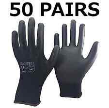 50 PAIRS HSL DIRECT Black Nylon PU Safety Work Gloves Builders Grip Gardening