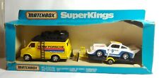 MATCHBOX SUPERKINGS TEAM PORSCHE RACE SUPPORT SET - K-102 - VAN TRAILER & CAR
