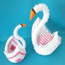 Extra Large Hand-made 3D Origami Swan with an Egg and a Baby Swan, A Great Gift!